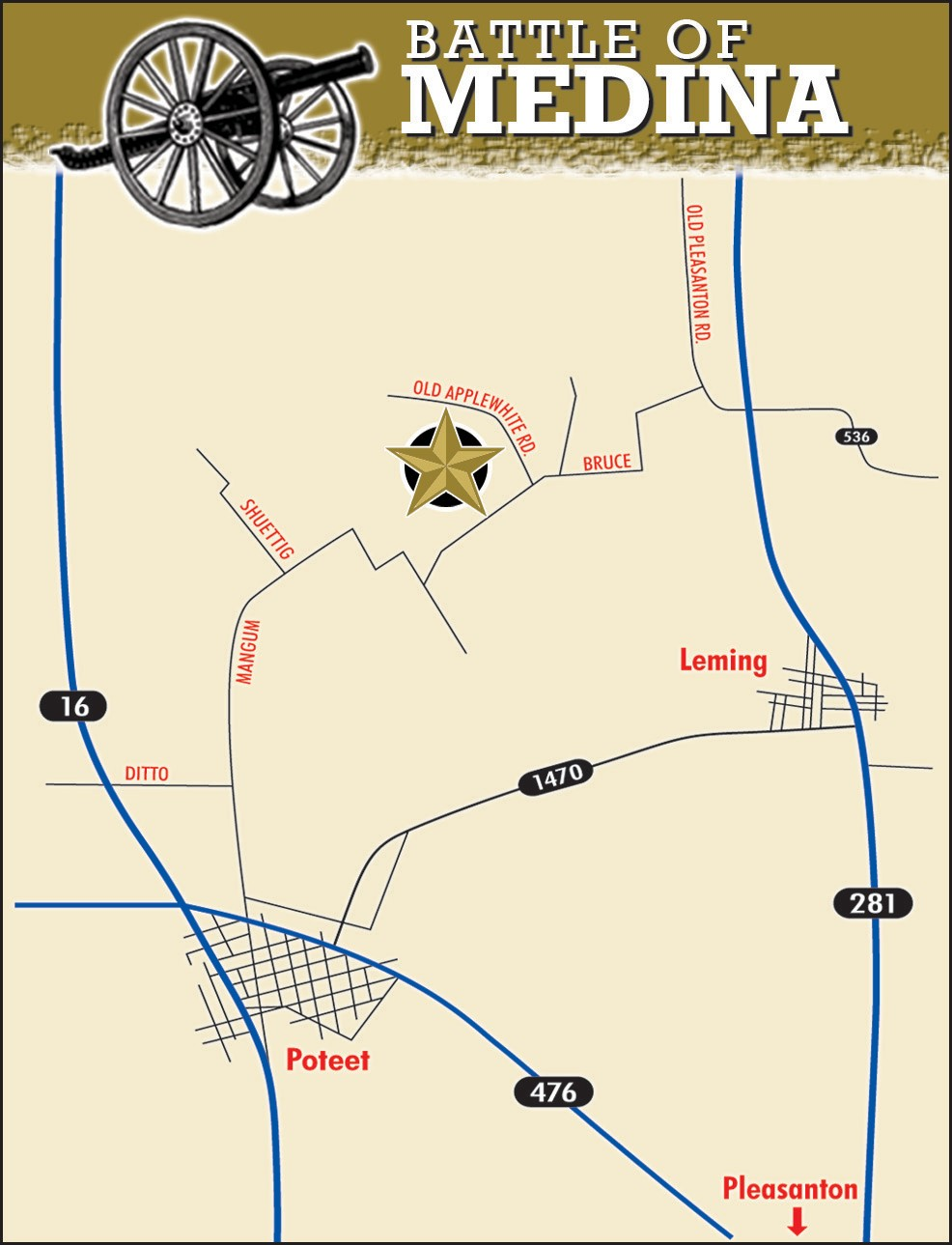 A ceremony honoring the 201st anniversary of the Battle of the Medina will be held next Saturday, August 16 at the site at 10 a.m. A seminar will be held at the Pleasanton Church of Christ.