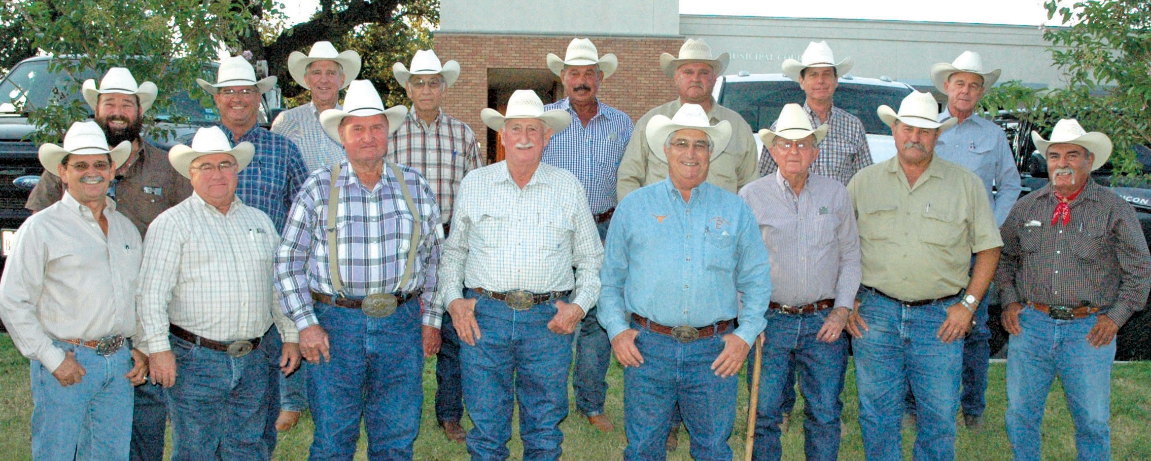 Each year the former Cowboys of the Year gather at the Pleasanton Express to choose the next recipient as well as the new inductees into the South Texas Cowboy Hall of Fame. Front row, left to right, are Committee Chairman Joel McDaniel ('90), David Kaiser ('09), Charles Maddox ('87), Robert Bryan (84), Mickie Clark ('03), Tommy Henry ('86), Leroy Krueger ('00) and Roy Alonzo ('13). Back row are Clint Hindes ('01), David McDaniel ('97), Johnny Schrutka ('05), Benny Zuniga ('91), Gilbert Gonzales ('92), Darryl Ashley ('94), Roy Hindes III ('04) and Billy Wayne Kaiser ('07).