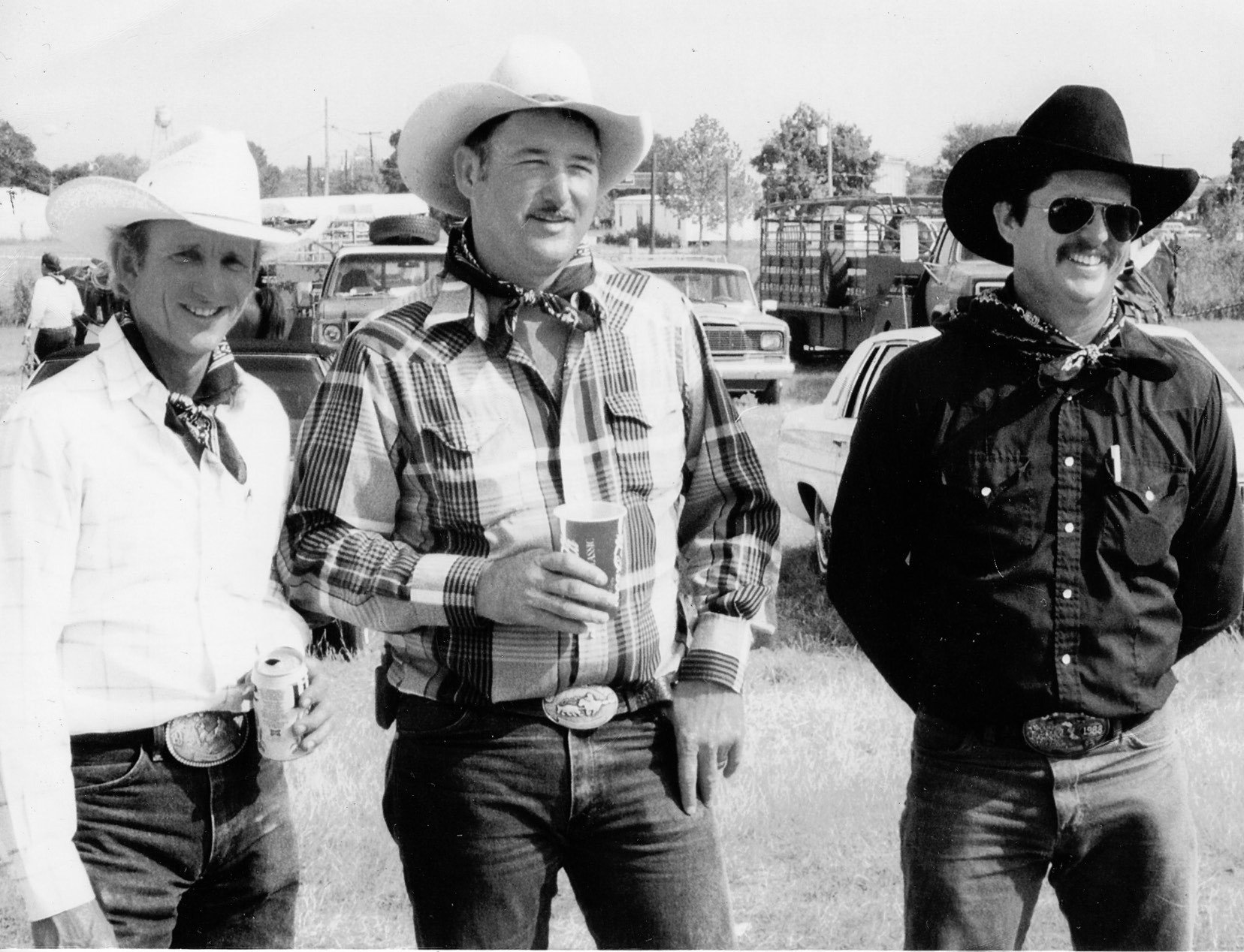 Johnny Yow, Randy Mangum and Mike Simmons doing their thing at the Poteet Balloon Fest ranch rodeo in 1993.