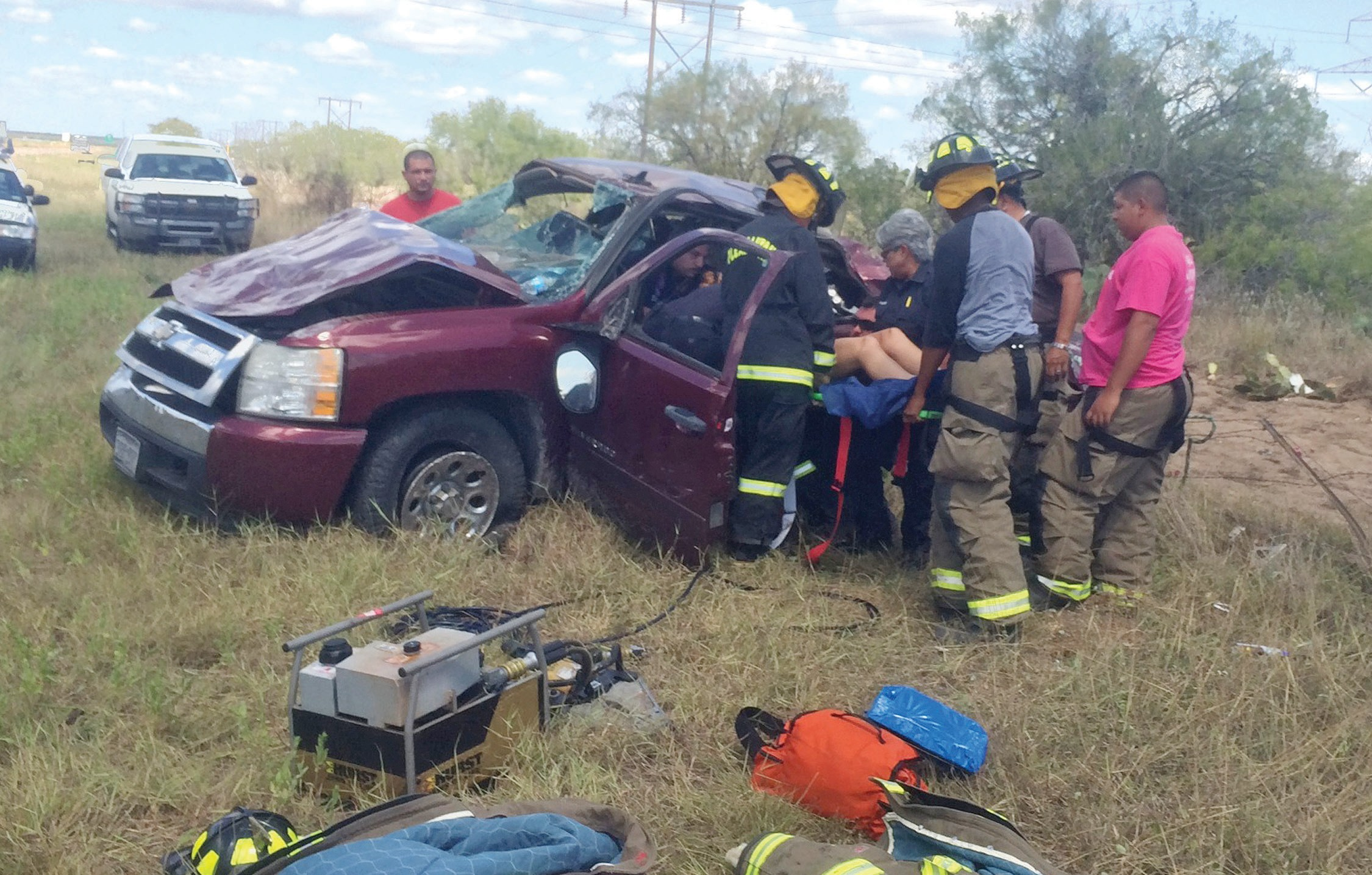 The Jaws-of-Life were needed for an accident near mile marker 96 on IH 37, Tuesday, September 9. A young woman driving a 2008 Chevy Silverado to college from McAllen over-corrected causing the one-vehicle roll-over. Campbellton and Pleasanton Volunteer Fire Departments responded to the call and the patient was transported to South Texas Regional Medical Center in Jourdanton by EMS.