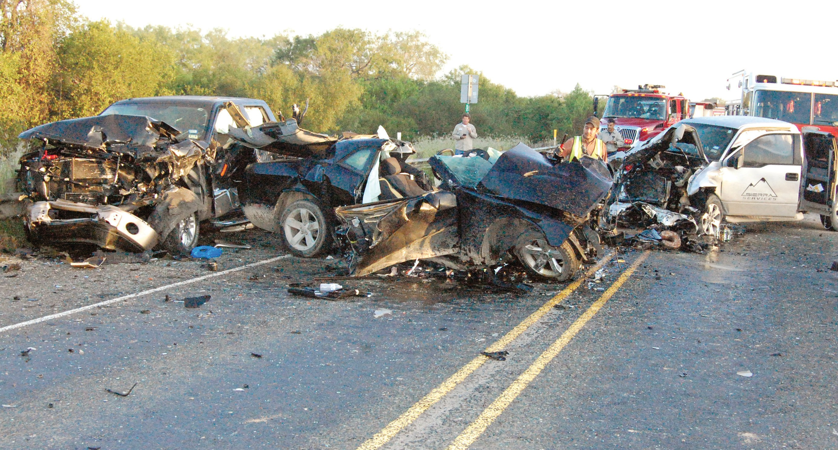 On Sunday, October 5, State Hwy. 16, about four miles south of Jourdanton, was closed down for several hours after a three vehicle crash claimed two lives and sent three more to the hospital.