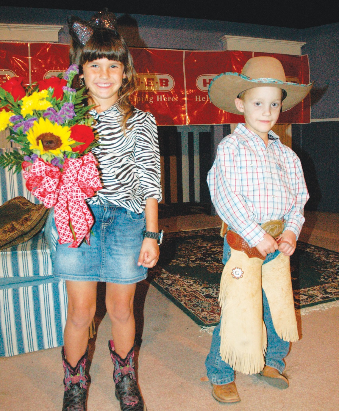 Mia Martinez and Jack Fluitt were named Lil' Mr. and Miss Cowboy Homecoming pageant this past Sunday. Mia is the daughter of Megan and Rene Martinez Jr.. Jack is the son of Kate and Jonathon Fluitt. The kids will help with the Cowboy Homecoming Queen's coronation next Thursday night at 7 p.m. before the Bull Ride Kick-off event.