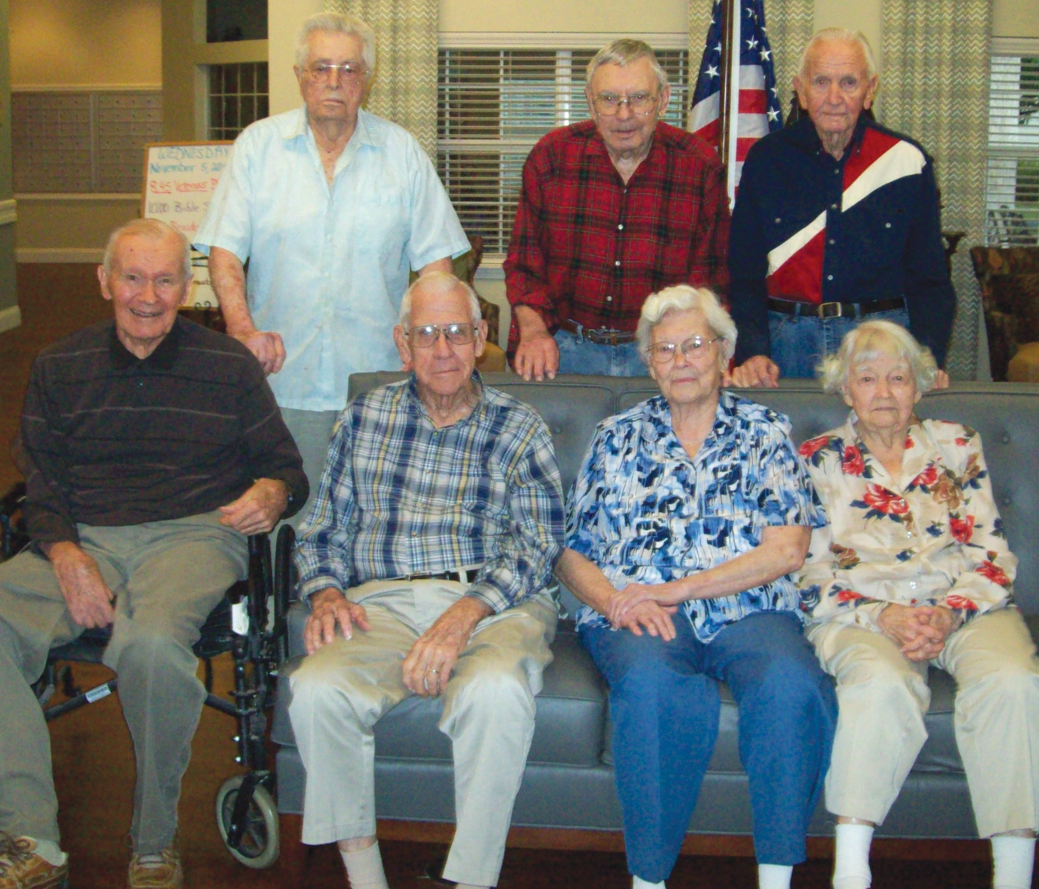 These residents of Argent Court Assisted Living in Jourdanton are also proud U.S. veterans. From left to right are, seated: Fred Moczygemba, Ed Scogin, Nettie Mae Wells and Maureen Davis and standing: Laddie Sefcik, Alfred Korus and Carl Morris.