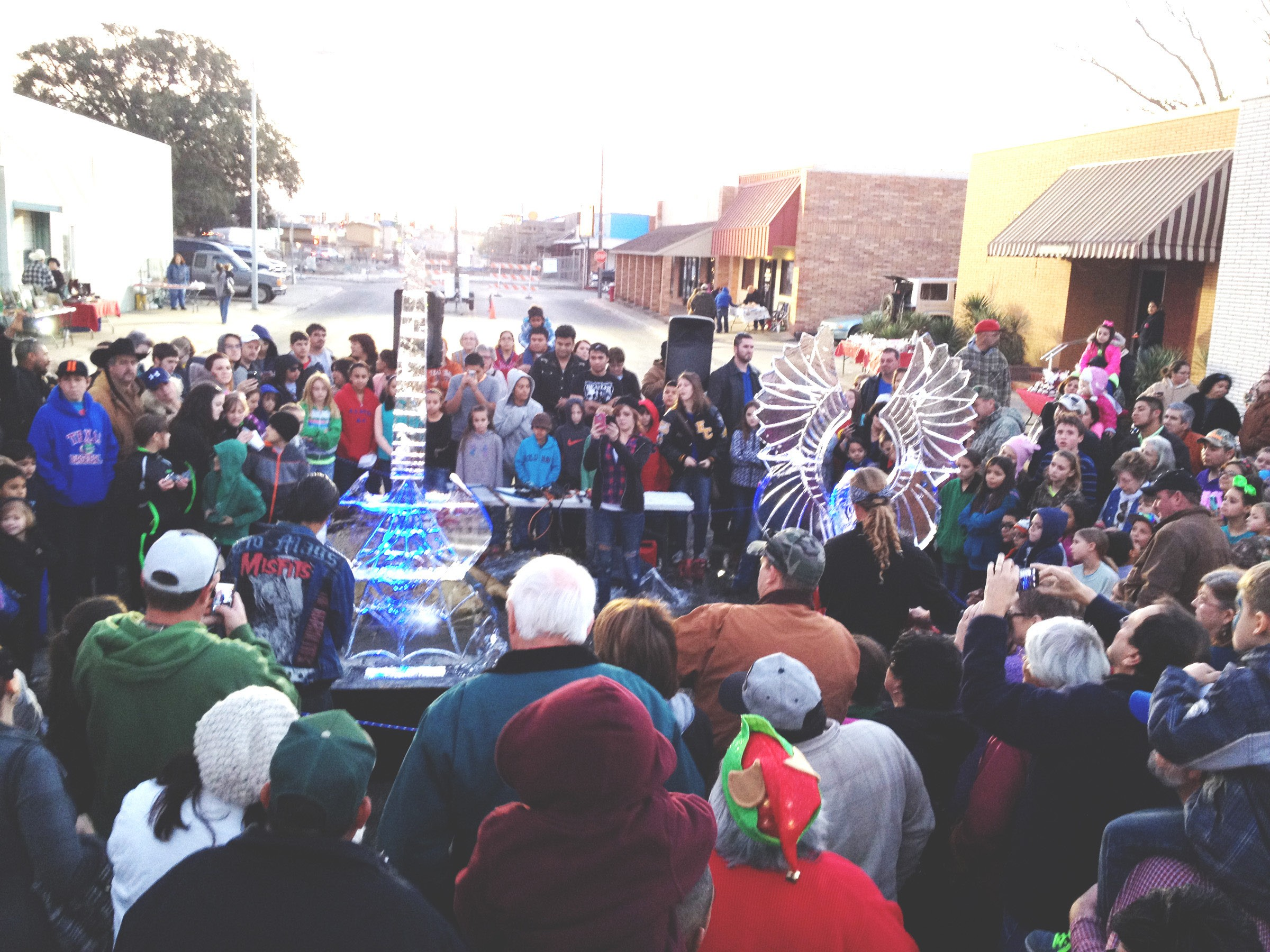 A great crowd gathered at the ice sculpting competition at last year's Downtown Pleasanton Merchants Association Art Walk. Catch it again this Saturday on Main Street beginning at 3 p.m. The Ice Fight will begin at 5 p.m.