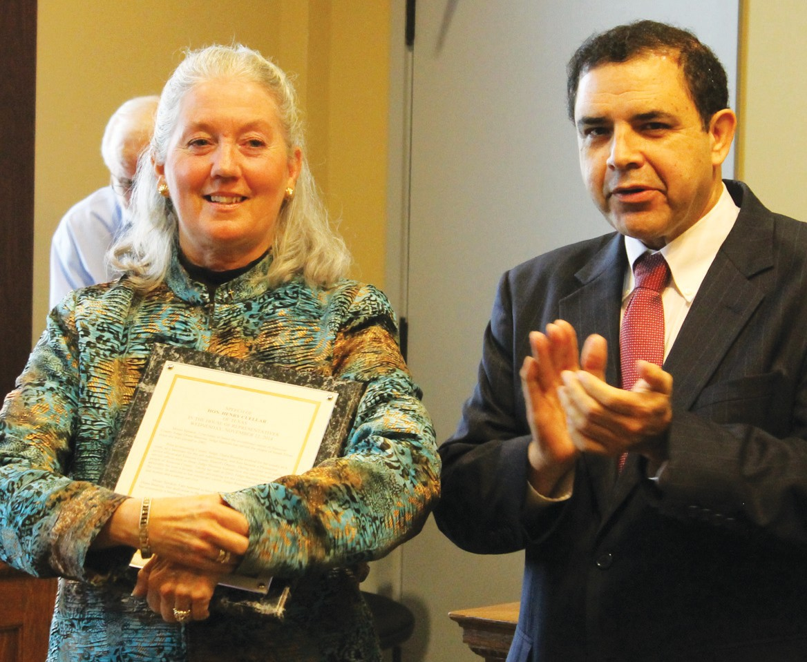 Congressman Henry Cuellar made a surprise visit to the Courthouse to honor retiring Atascosa County Judge Diana Bautista on Monday.