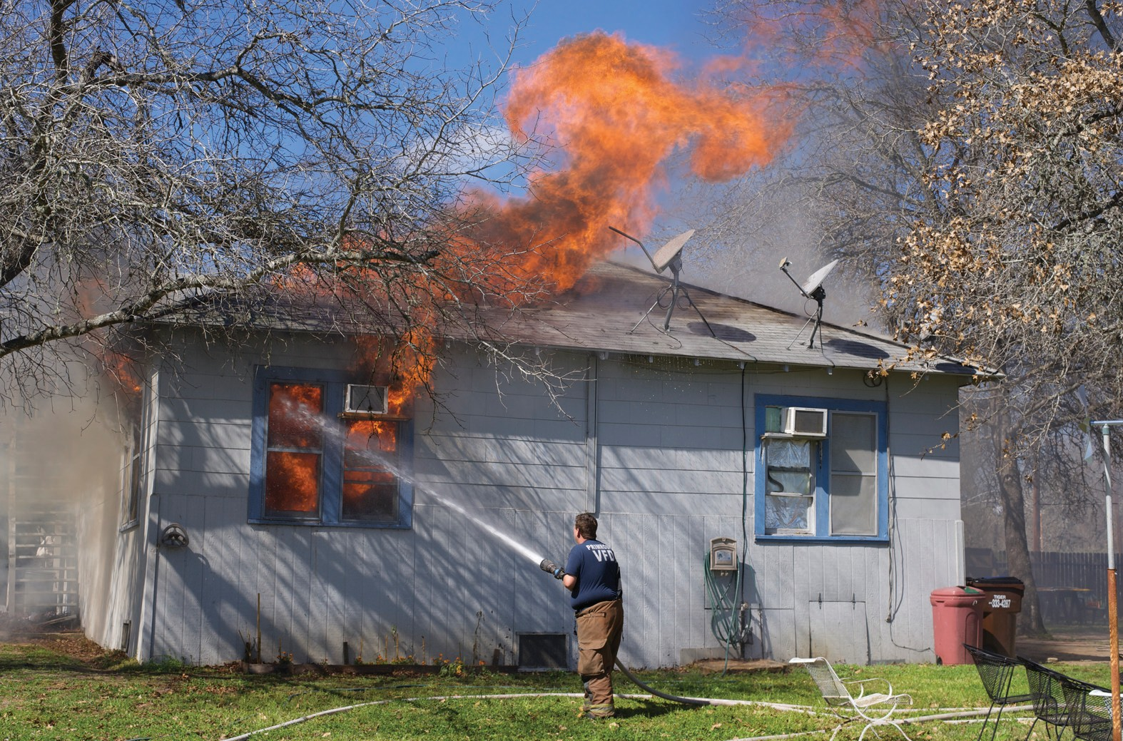 "The Primrose, Poteet, Pleasanton and Somerset Volunteer Fire Departments battled this structure fire on Palo Alto Drive. A ""Go Fund Me"" account has been established to raise funds for the family."