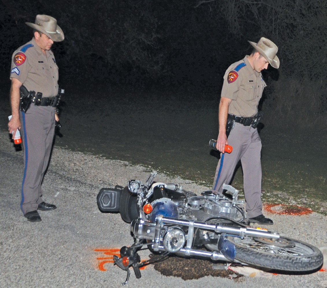 DPS Troopers Vaughn and Ramos investigate a motorcycle accident involving 60-year-old Rickie Gleason of San Antonio.