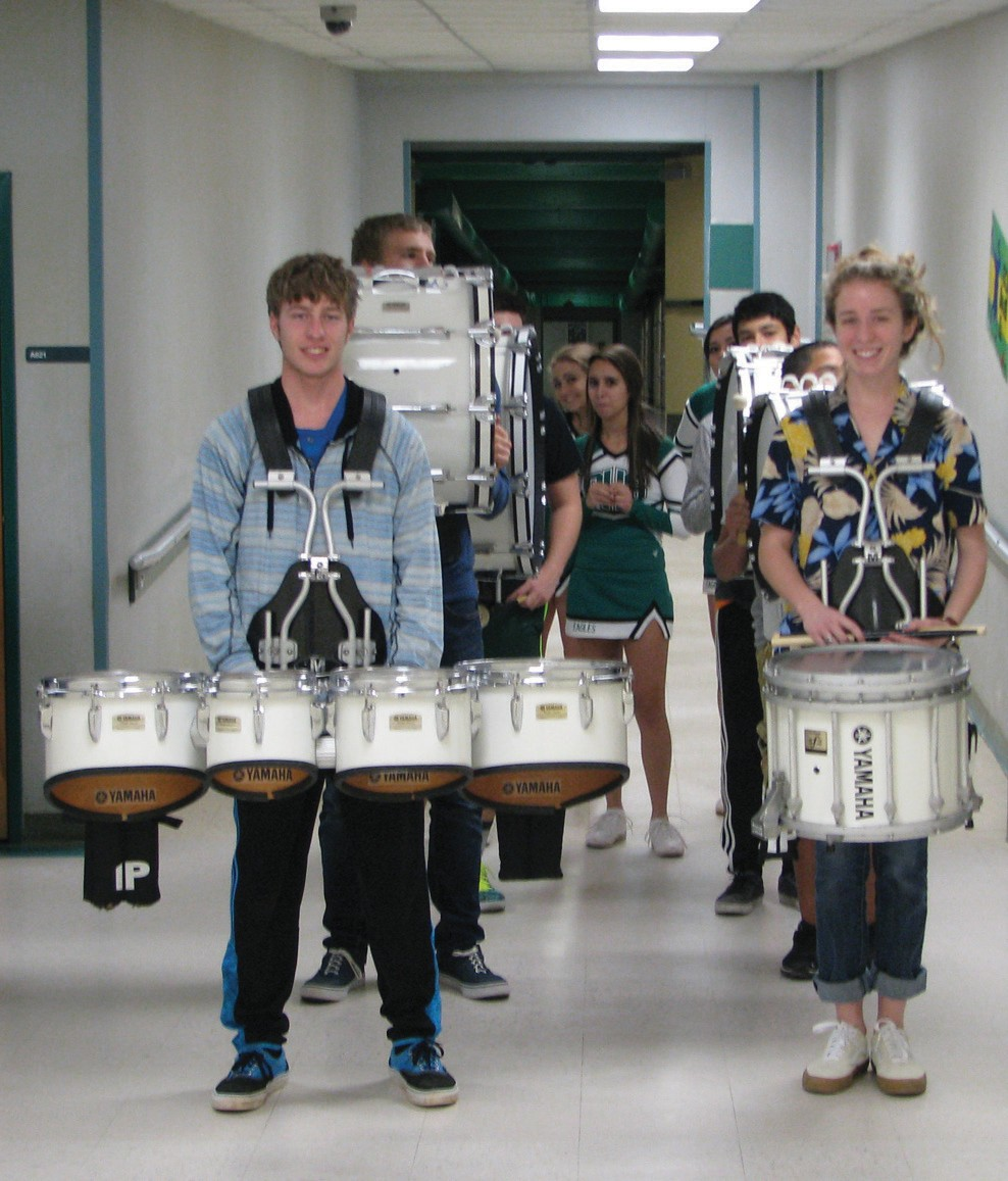 PHS Band Drum Line led the way for the Pleasanton ISD Education Foundation Prize Patrol last month.