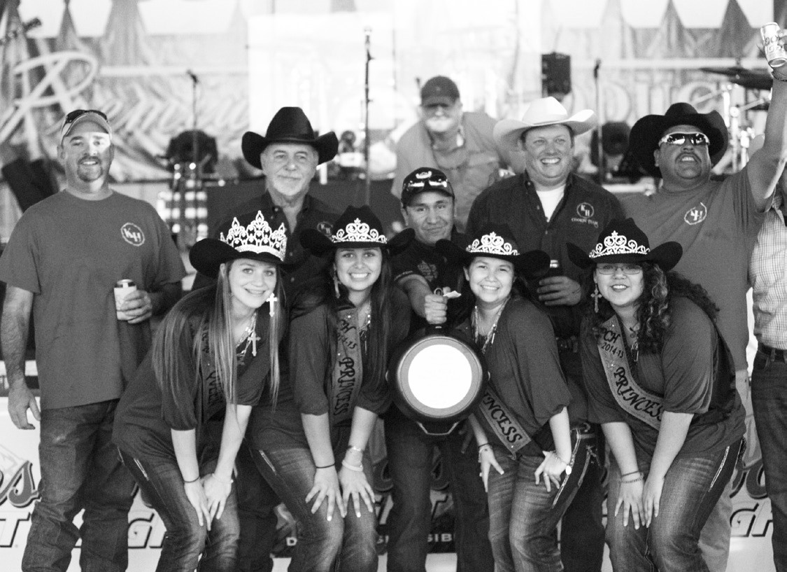 1ST PLACE RIBS First Place winner in the Pork Spare Ribs division at Turn-n-Burn was Shane Burchfield (top, left) and his Keep 'er Hot Team, from left, Shane, Rick Burchfield, Leon Payne and Shrek Cisneros. Assisting in the presentation are Cowboy Homecoming Queen Jordyn Olle and Princesses Taylor Maddox, Julie Lopez and Ynez Vera and Chamber Director George Quiroga.
