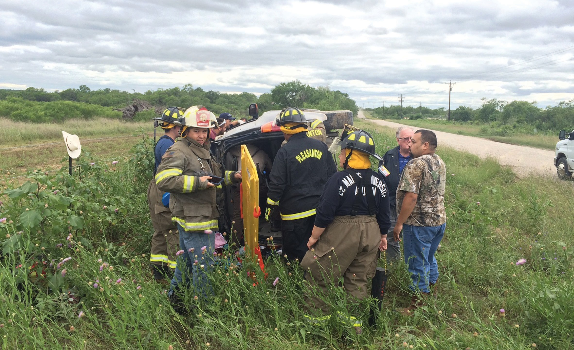 A one-car rollover occurred near the Industrial Park last Tuesday, April 28. A woman was transported to South Texas Regional Medical Center. Two children were also on board, but were unharmed.
