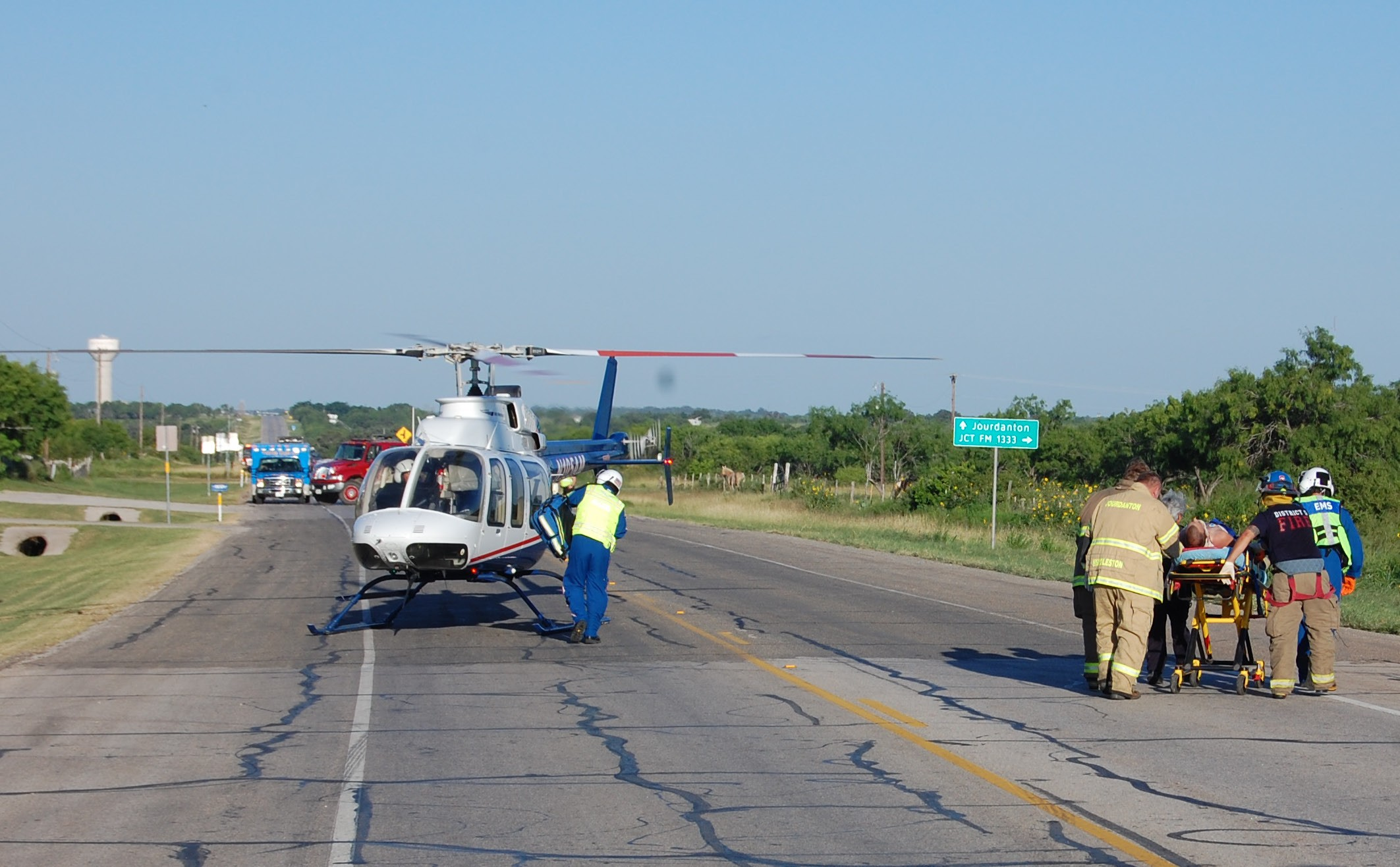 AirLife responded to a two-vehilcle collision on TuEsday, June 9 on SH 173. The driver of a car failed to yield right of way to a truck travelling westbound. The driver of the car was transported to University Hospital where he was in critical but stable condition.The wreck was investigated by Trooper Cantu with assistance of Trooper Waylon Rogers.