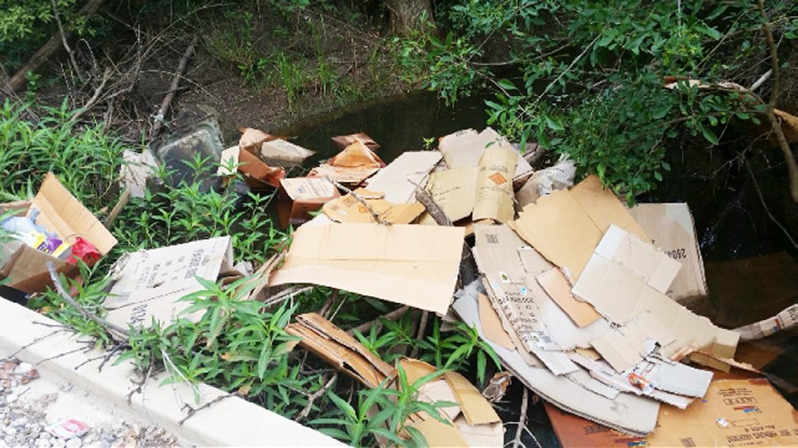 Cardboard boxes dumped in Town Creek near Jourdanton.