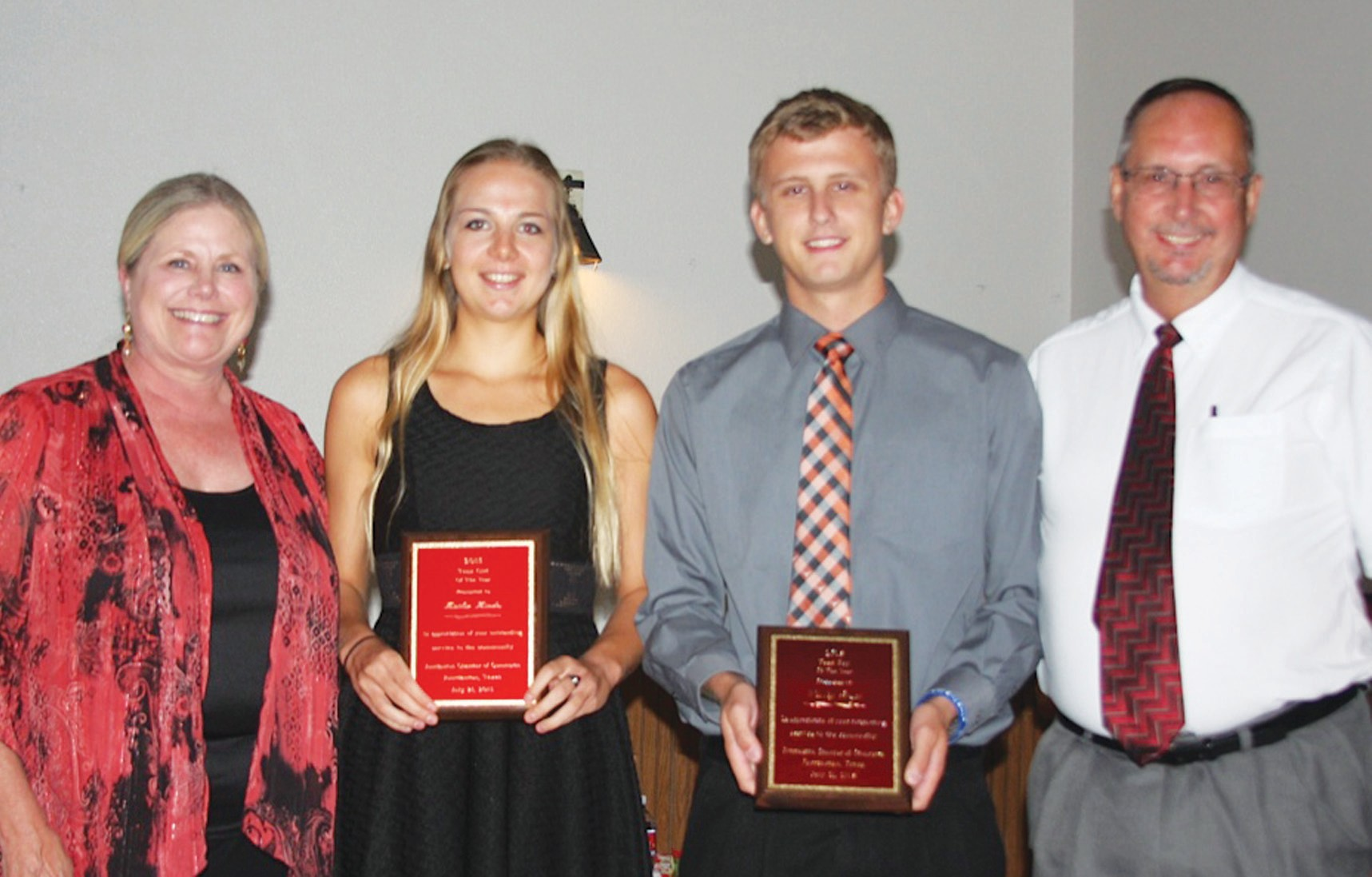 Dr. Lana Collavo, JISD Superintendent (left), presented awards to two outstanding teenagers at the Jourdanton Chamber banquet last week. Kaitlin Hindes received the Girl Teenager of the Year and Wesley Pesek was named Boy Teenager of the Year. Jourdanton High School principal, Keith Chapman, was named Educator of the Year.