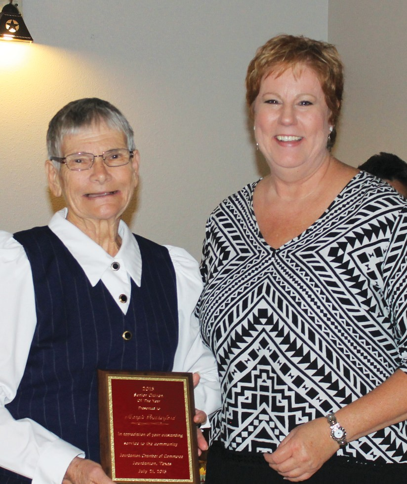 The Senior Citizen Award was given to Margie Rutherford by Susan Netardus at the Jourdaton Chamber banquet last Tuesday.