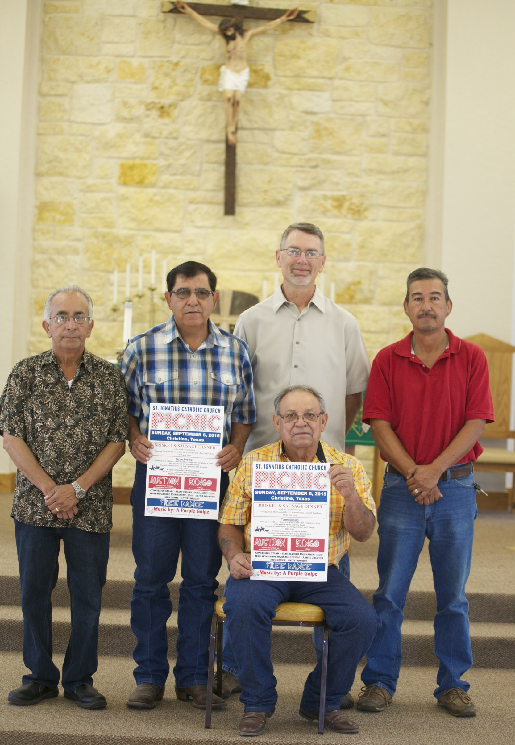 David Navejar, Robert Regalado, Chris Wilems, Richard Salas and Aurelio Bosquez (seated) invite you to join them at the St. Ignatius Catholic Church Annual Picnic. The picnic is this Sunday, September 6, 2015. Serving of meal will begin at 11:30 a.m. followed by a live auction, games for the whole family and a free dance with music provided by A Purple Golpe.
