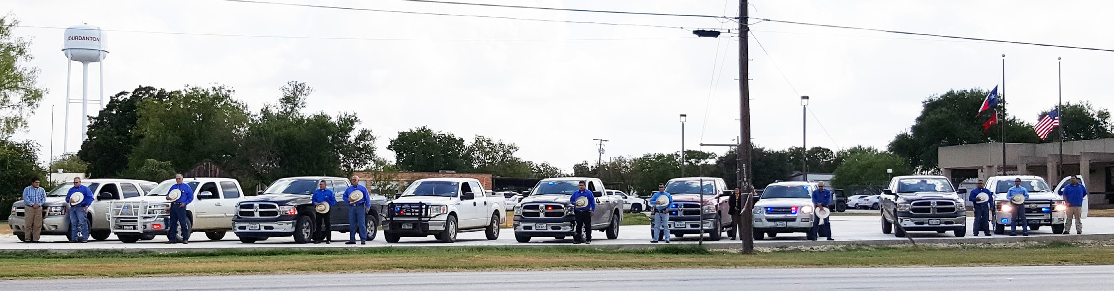 The Atascosa County Sheriff's Office gathered with the Sheriff, CID Deputies, and support staff standing, dressed in blue, for a minute of silence with lights on in memory of Darren Goforth on Friday, September 4, 2015 at 11 a.m.#backtheblue.
