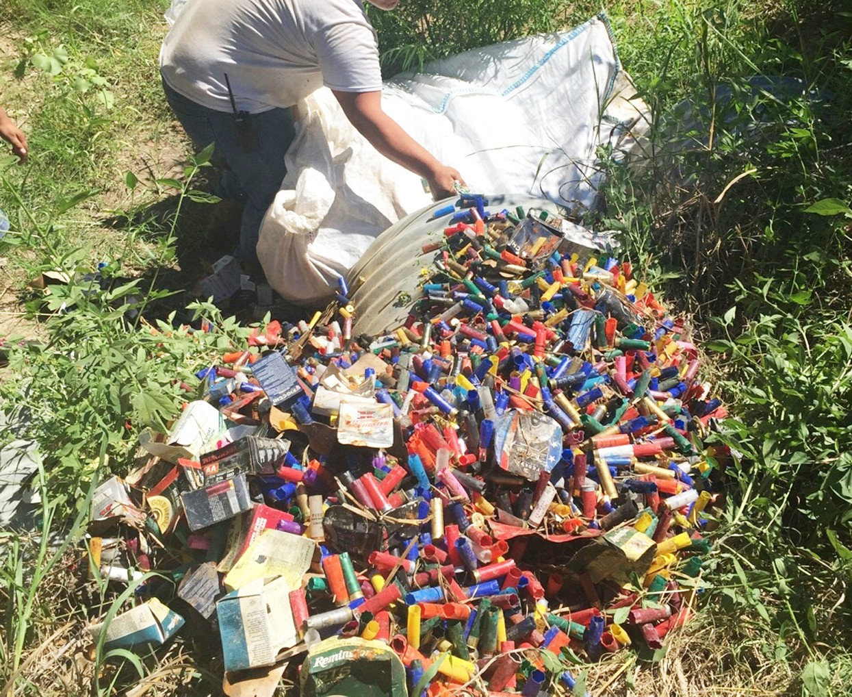 Over 500 pounds of shot gun shell hulls were dumped near Leming on a country road. Two men were arrested by Atascosa County Sheriff Deputies.