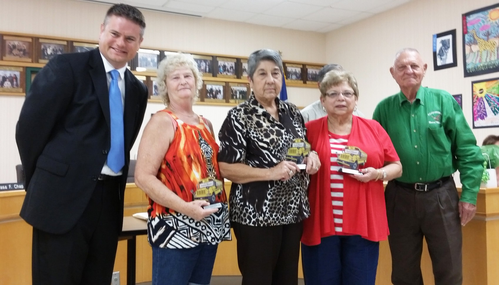"Pleasanton ISD Superintendent Matthew Mann (left) along with PISD Board President Frank A. ""Butch"" Tudyk presented awards to Debra Pierce, Lucy Alaniz, Dora Llamas on their retirement and service to PISD as bus drivers for over 30 years each."