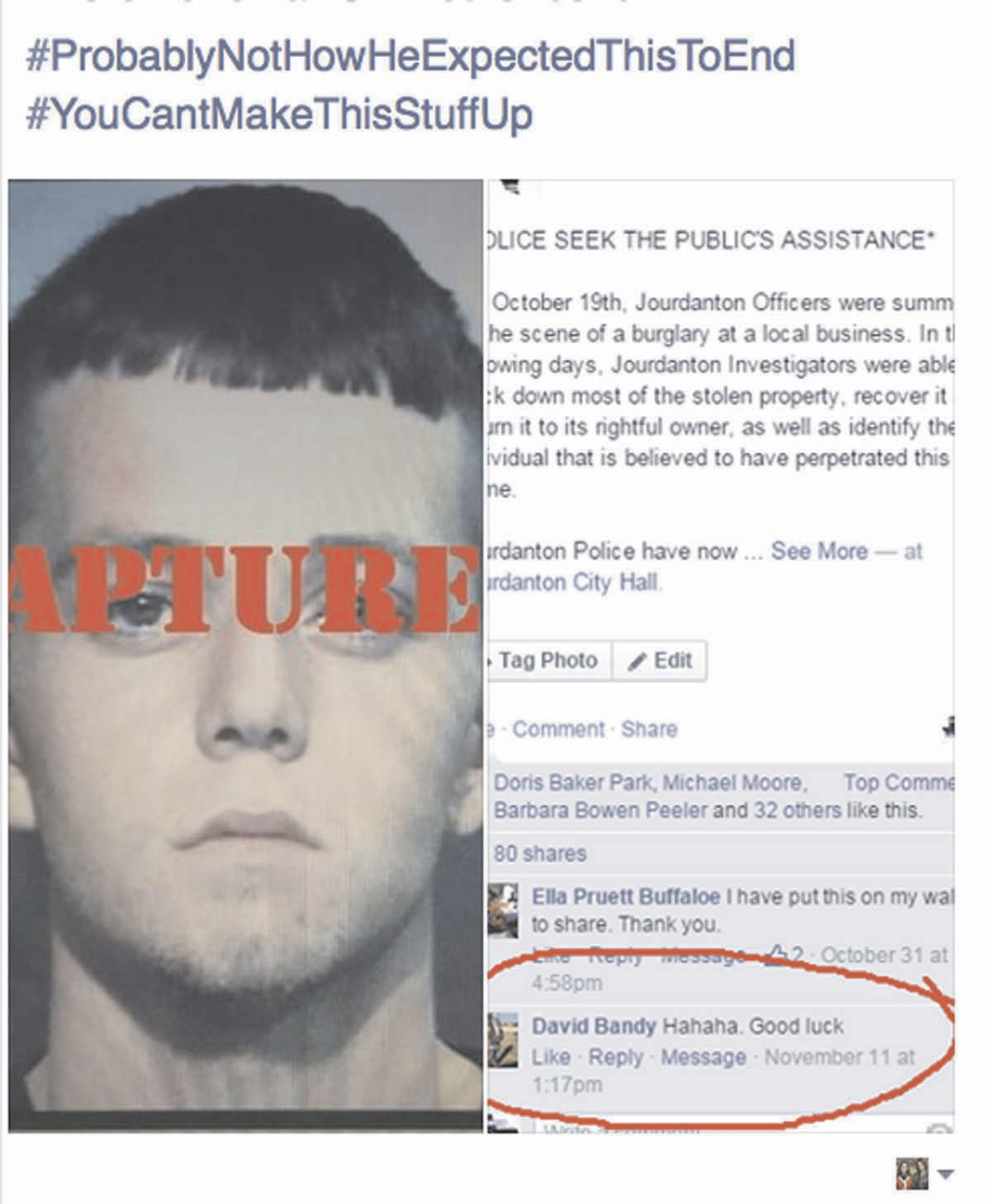 the comment by a wanted suspect circled in red.
