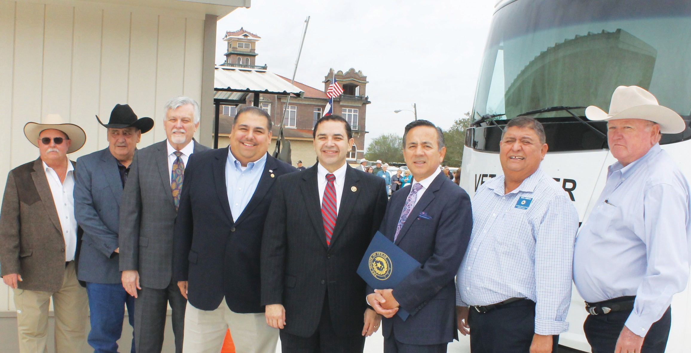 In Jourdanton, a Grand Opening was held at the Veteran's Service Office at 818 Main St., at noon on Tuesday, November 24. From left are, Commissioner Lonnie Gillespie, Pct. 1; Commissioner Freddie Ogden, Pct. 3; Atascosa County Judge Bob Hurley, Representative Ryan Guillen, Congressman Henry Cuellar, Senator Carlos Uresti, Mike Lambaria, Veterans Service Officer and Commissioner Bill Carroll, Pct. 4.