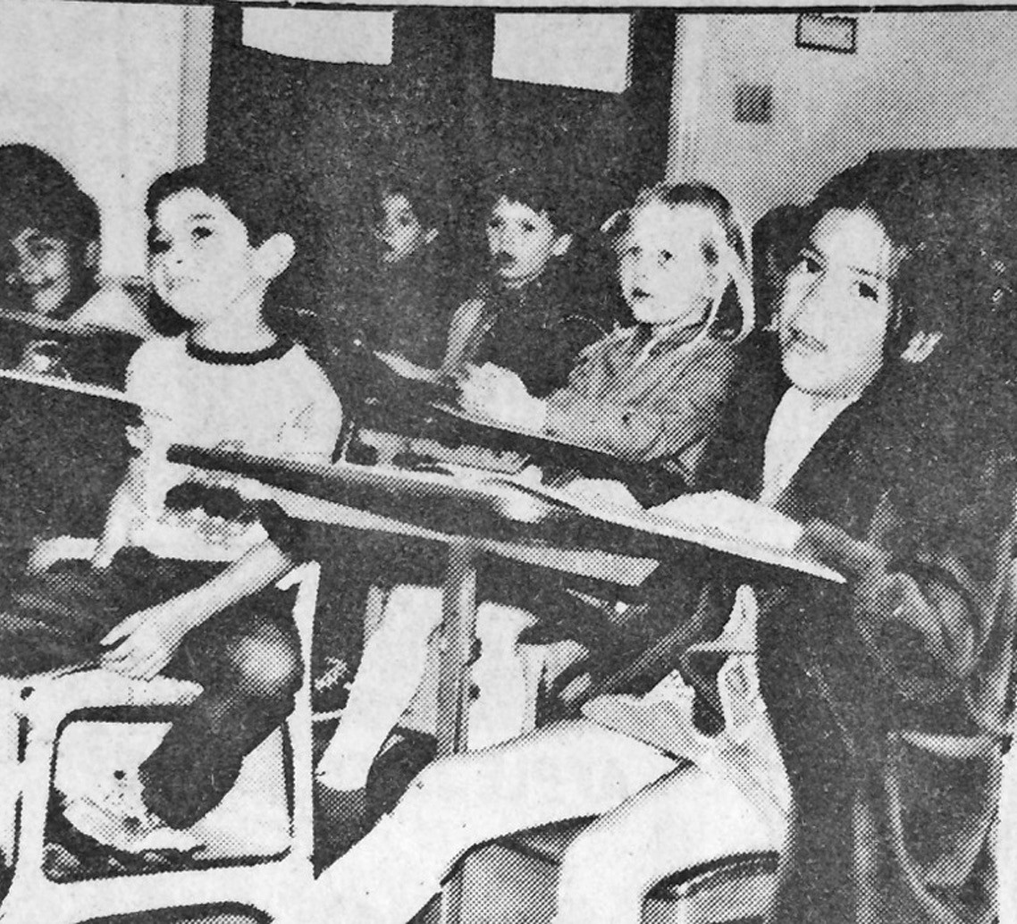 These are citizens of tomorrow-First graders sing out at Pleasanton Elementary School. Express photo originally ran in the November 26, 1975 edition of the Pleasanton Express.