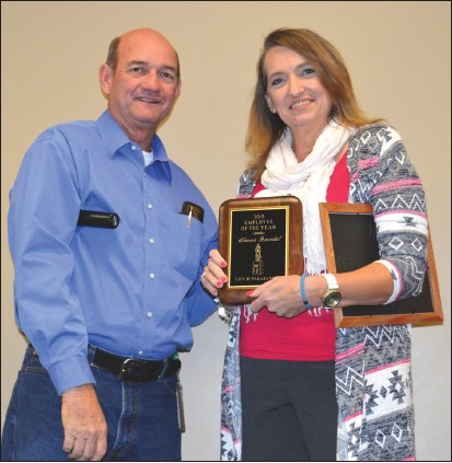 Sharon Buendel was chosen from four finalists as the City Wide Employee of the Year. Sharon has worked in the Public Works department for over 16 years. She received her plaque from City Manager Bruce Pearson.