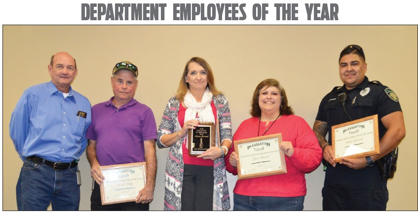 Bruce Pearson (left) presented certificates to the Employees of the Year. An employee was chosen from each department and from the four finalists, a City Wide Employee of the Year was chosen. Receiving certificates were, left to right, David Haley, Administrative Employee of the Year; Sharon Buendel, Public Works Employee of the Year; Gina Stewart, Facilities/Activities Employee of theYear and Justin Granato, Public Safety Employee of the Year.