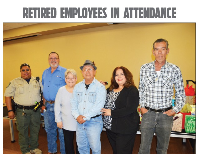 Several retired City of Pleasanton employees attended the Christmas luncheon. Left to right are Amelia Garza, Gary Soward, Beth Carroll, Roger Martinez, Cindy Urrabazo and Roy Escamilla.