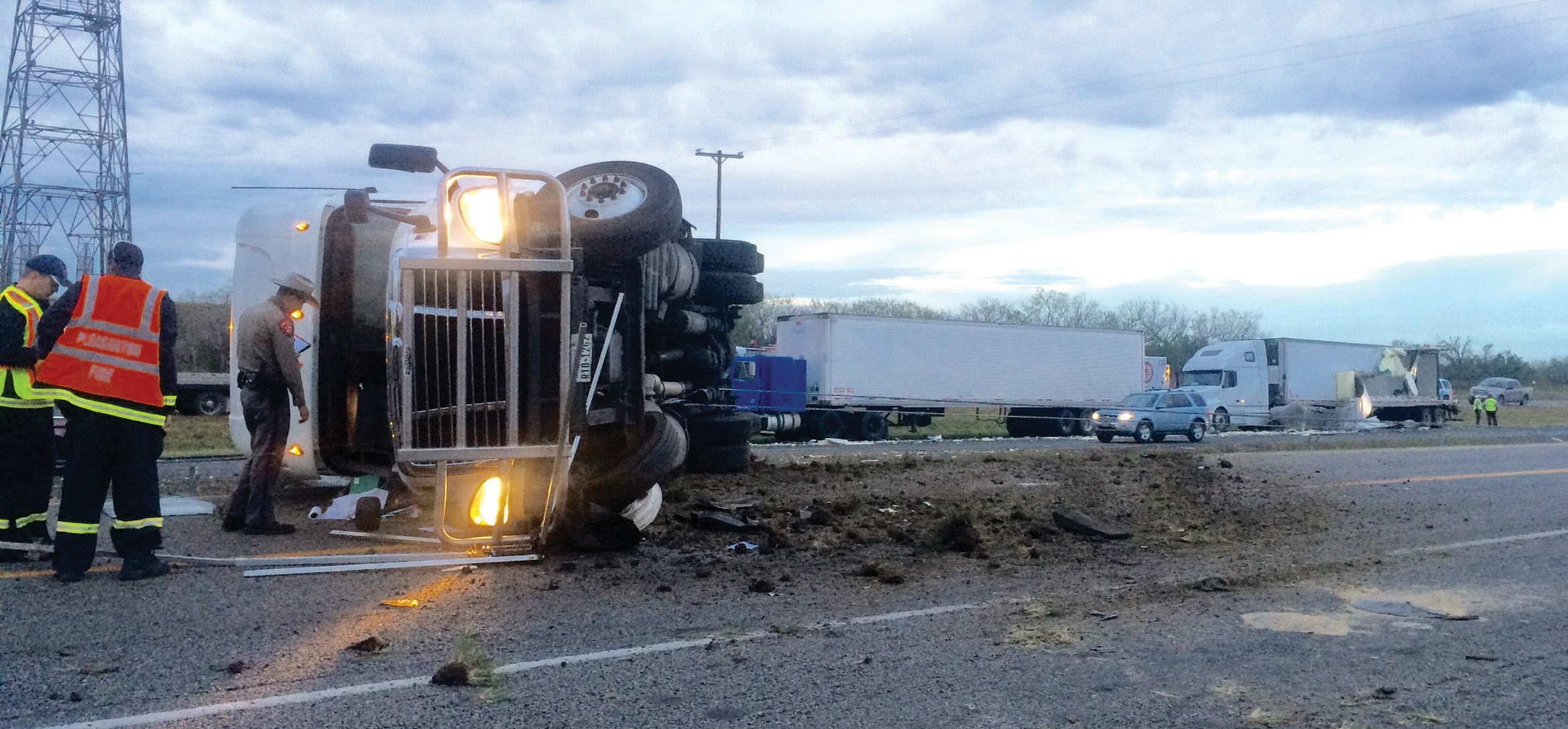 This 18-wheeler accident on Monday morning, Dec. 21, tied up traffic for several hours on IH-37. At least one person was transported by EMS, after an 18-wheeler travelling southbound struck another 18-wheeler that was parked on the shoulder.