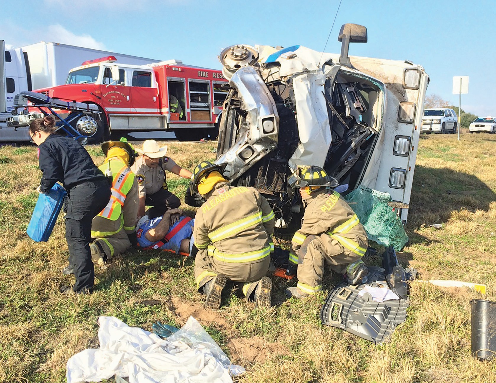 Law enforcement agencies and emergency personnel responded to IH-37 near mile marker 92 on Thursday, Jan. 21, for a major accident involving an out-of-town EMS unit. Three people were injured and one was flown by AirLife. The Pleasanton Volunteer Fire Department, Atascosa County Sheriff's Department, Texas DPS and EMS were at the scene. The accident occurred at approximately 10 a.m.