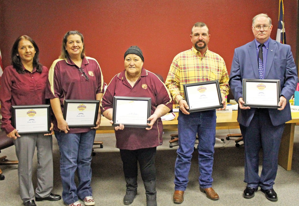 Charlotte ISD's School board members were honored at the January 21 meeting. Left to right are President Becky Ramos, Vice President Cyndy Zuniga, Treasurer Maria Cantu, Matt Wagner and Jim Wilson. Not pictured, Tommy Garcia.