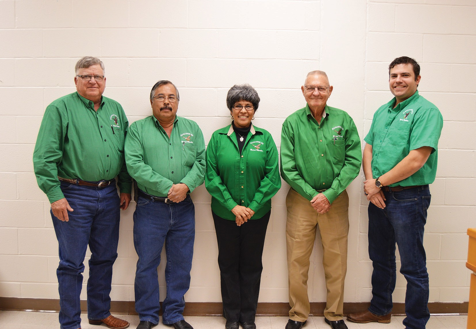 Pleasanton ISD's School board members were given personalized jackets at the January 12 meeting in recognition of School Board Appreciation Month. Left to right are: Pete Pawelek, District 7; Edward Zamarripa, District 2; Blasa Chapa, District 1; President Frank Tudyk, District 3; and Secretary Joseph Warnken. District 6; Missing were Vice President Jamie Downs, District 5 and Pat Seay Cox, District 4.