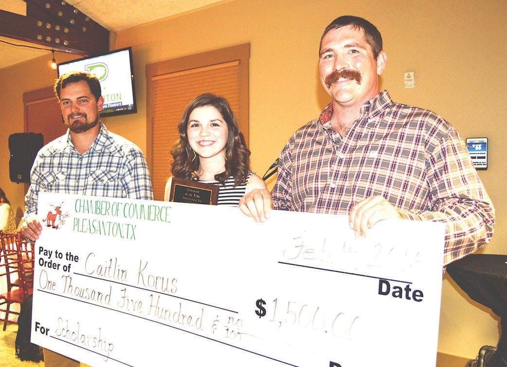 Pleasanton Athletic Booster Club sponsored the Teenager of the Year award which was presented to Pleasanton High School senior Caitlyn Korus. Helping with the presentation and the $1,500 scholarship check were Lee Ricks IV (left) and Gaylon Andrews (right).