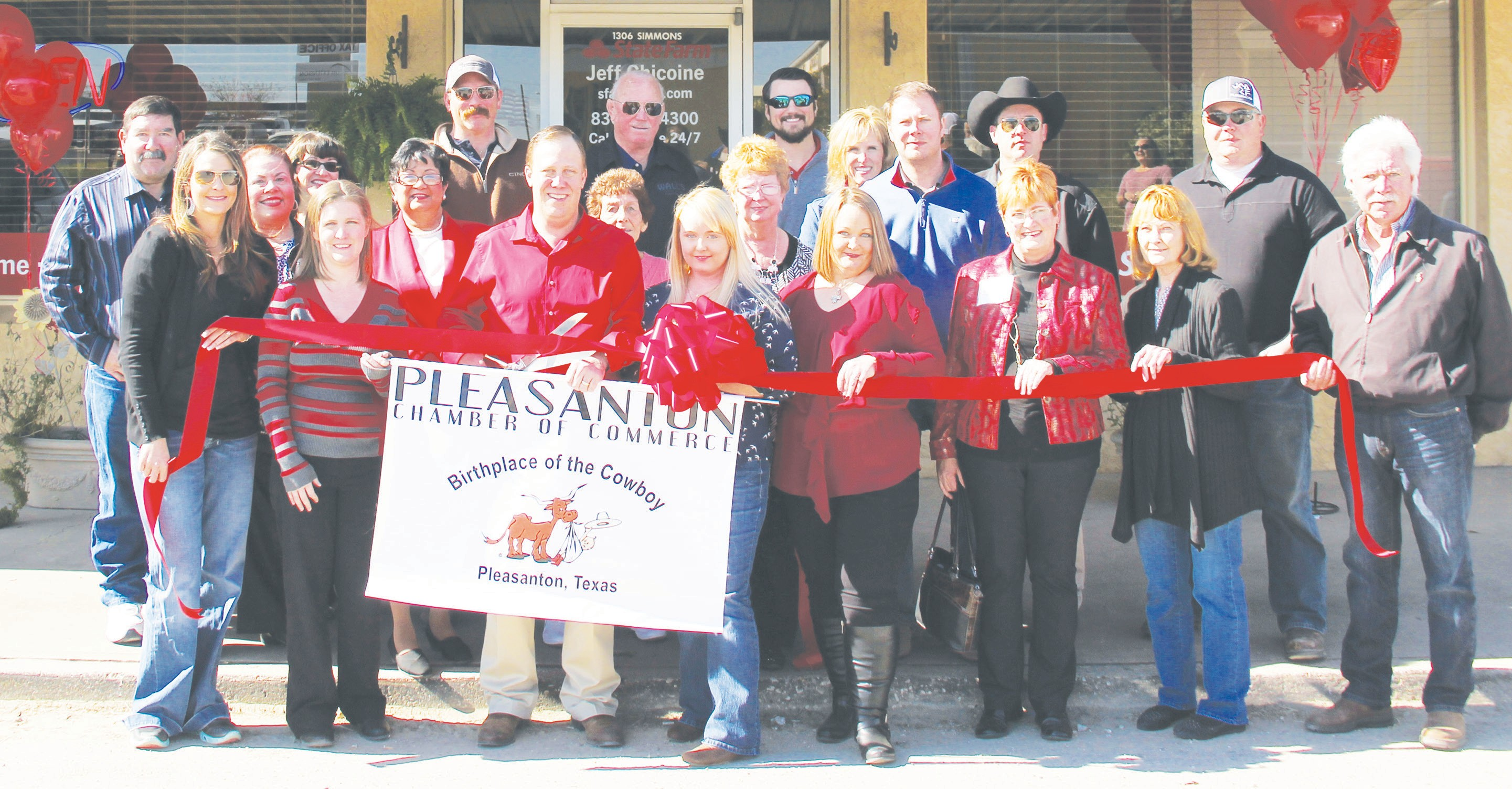 Pleasanton Chamber of Commerce members, other community leaders and family members joined Jeff Chicoine at the ribbon cutting for the State Farm in Jourdanton on Friday, February 5. Pictured at the ribbon cutting: Joseph Guerra, Jessica Wier, Cindy Urrabazo, Kathleen Guerra, Shanna Luby, Dee Corella-Ryle, Gaylan Andrews, Jeff Chicoine, Agent, Mary Guerra, Wilbur Palmer, Jessica Pickett, Joyce Price, Kevin Aniol, Ami Powell, Shannon Chicoine (Jeff's wife), David Price, Clint Powell, Kameron Chicoine, Iris Miller, James Strange and Brad Mumm.