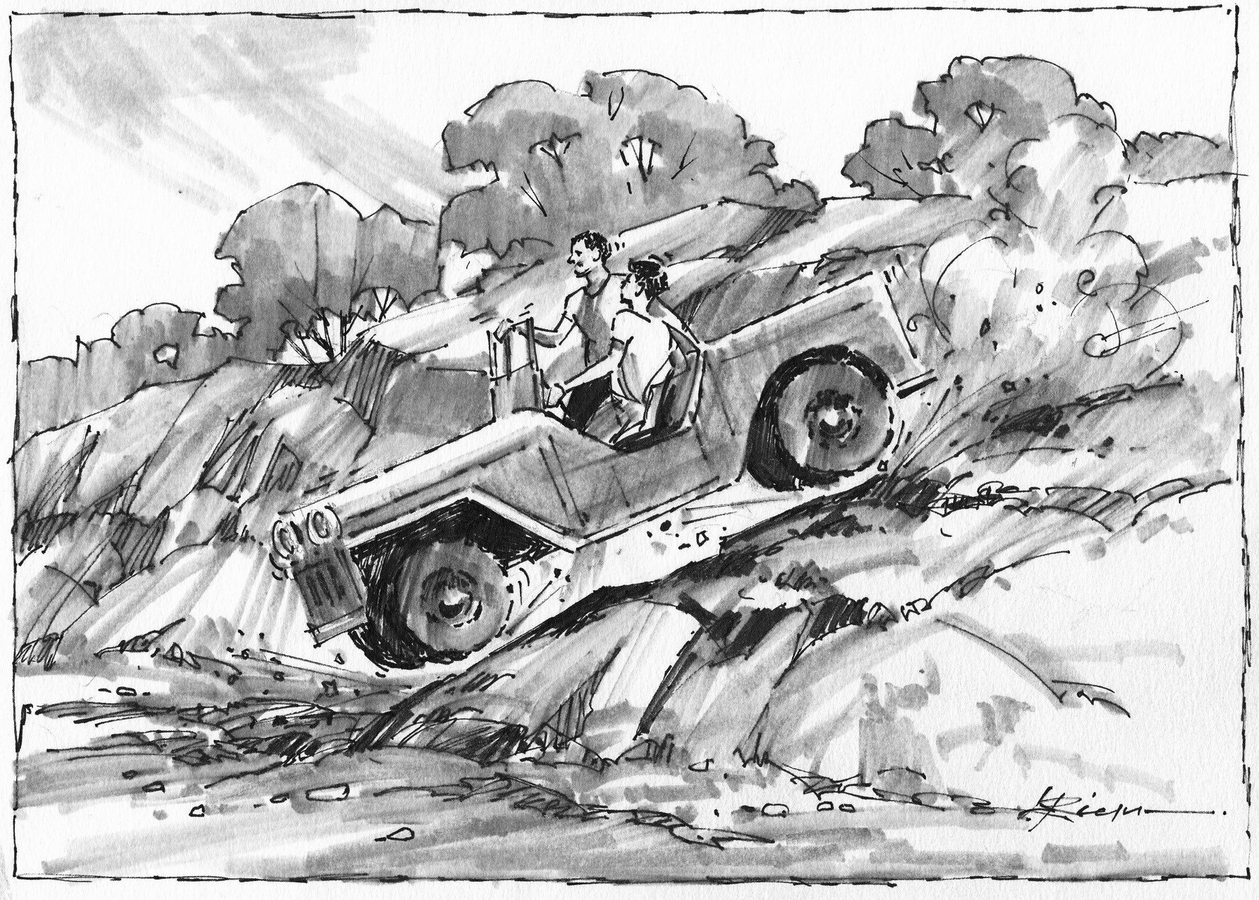 Caricature drawing by Lee Ricks, Jr., depicting an adventure with Jerome Brite in an Army jeep in Cockrell Canyon. This was on the old Breaker property now owned by Wayne Beyer.