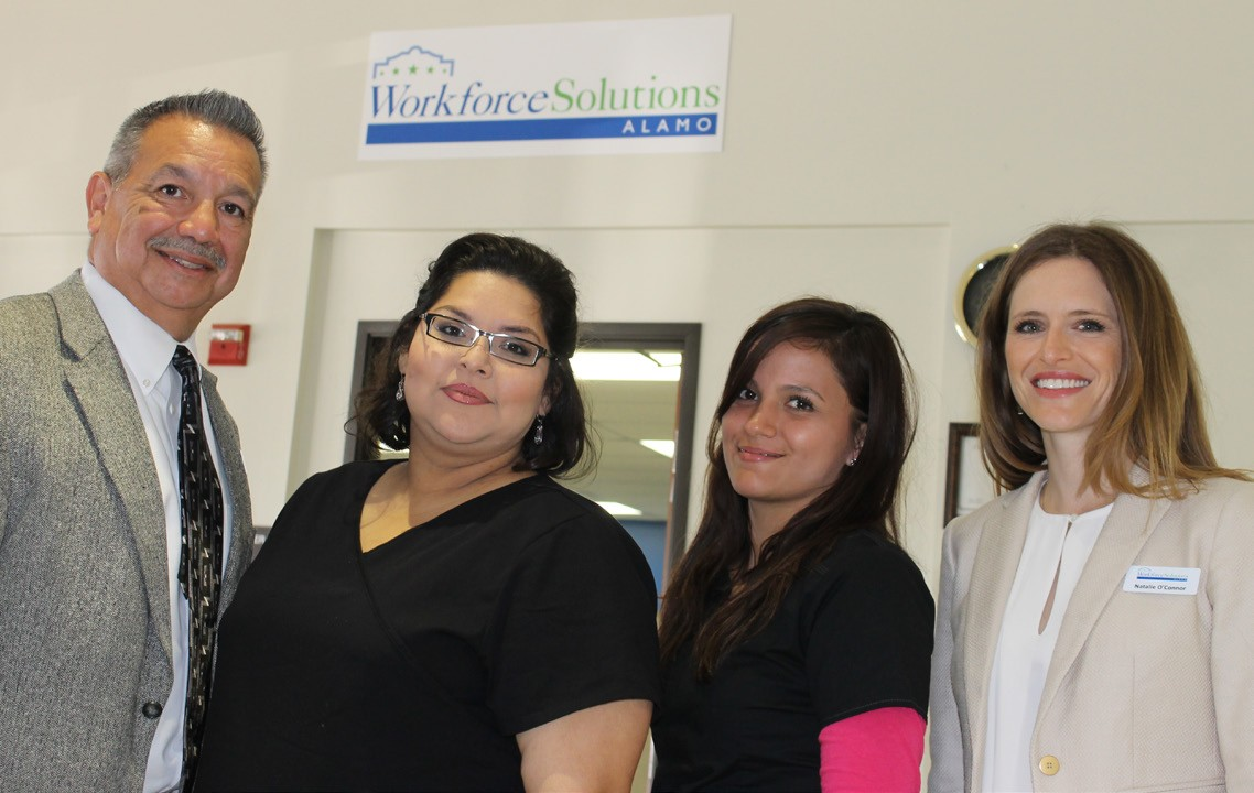 Workforce Solutions representatives and two LVN students who worked through the WFS program. From left, Johnny Casias- WFS Site Manager; Mandy Martinez - LVN Graduate of CBC; Bianca Reyna - LVN Graduate of CBC; Natalie O'Connor - Department Director WFS.
