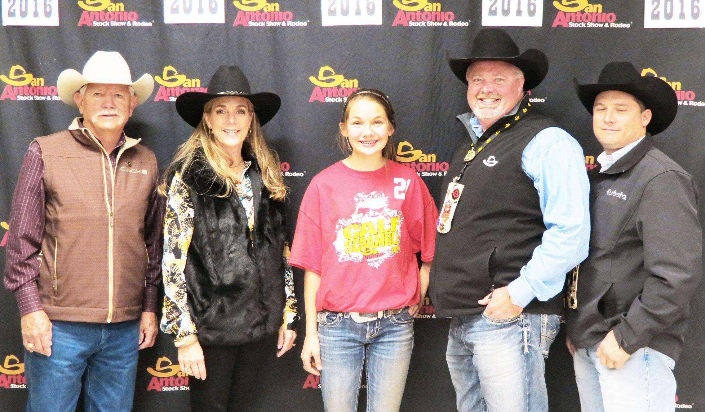 Poteet 7th grader Brooke Rassmussen won in the Calf Scramble at the San Antonio Stock show last month.