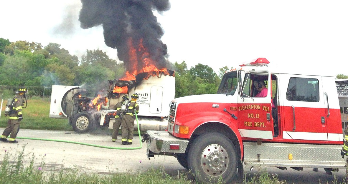 An 18-wheeler caught fire at the IH 37 northbound rest area near the 113 mile marker on Monday, March 28. The fiberglass cab was completely engulfed in flames when firefighters showed up. No one was injured in the mishap.
