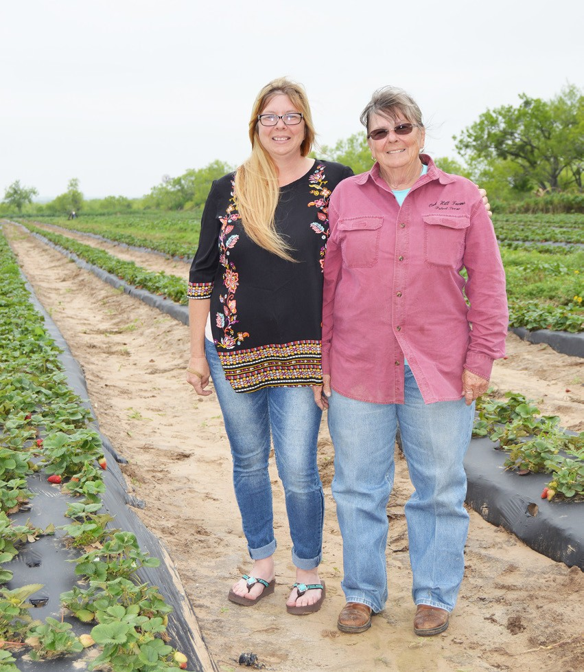 Cora Lamar and her daughter Jessica Cochrane are pictured in one of their many strawberry fields. Lamar admits that the farm operation would not be able to exist without the help of her daughter Jessica, son Chris Giles and Frank Douglas.