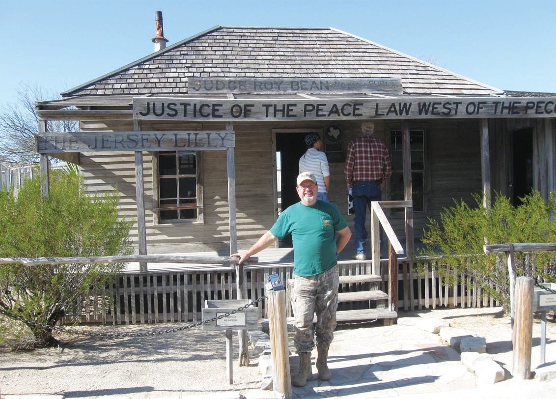 Gary Soward, at Judge Roy Bean's Justice of the Peace, Law West of the Pecos building in Langtry, Texas, east of Big Bend.