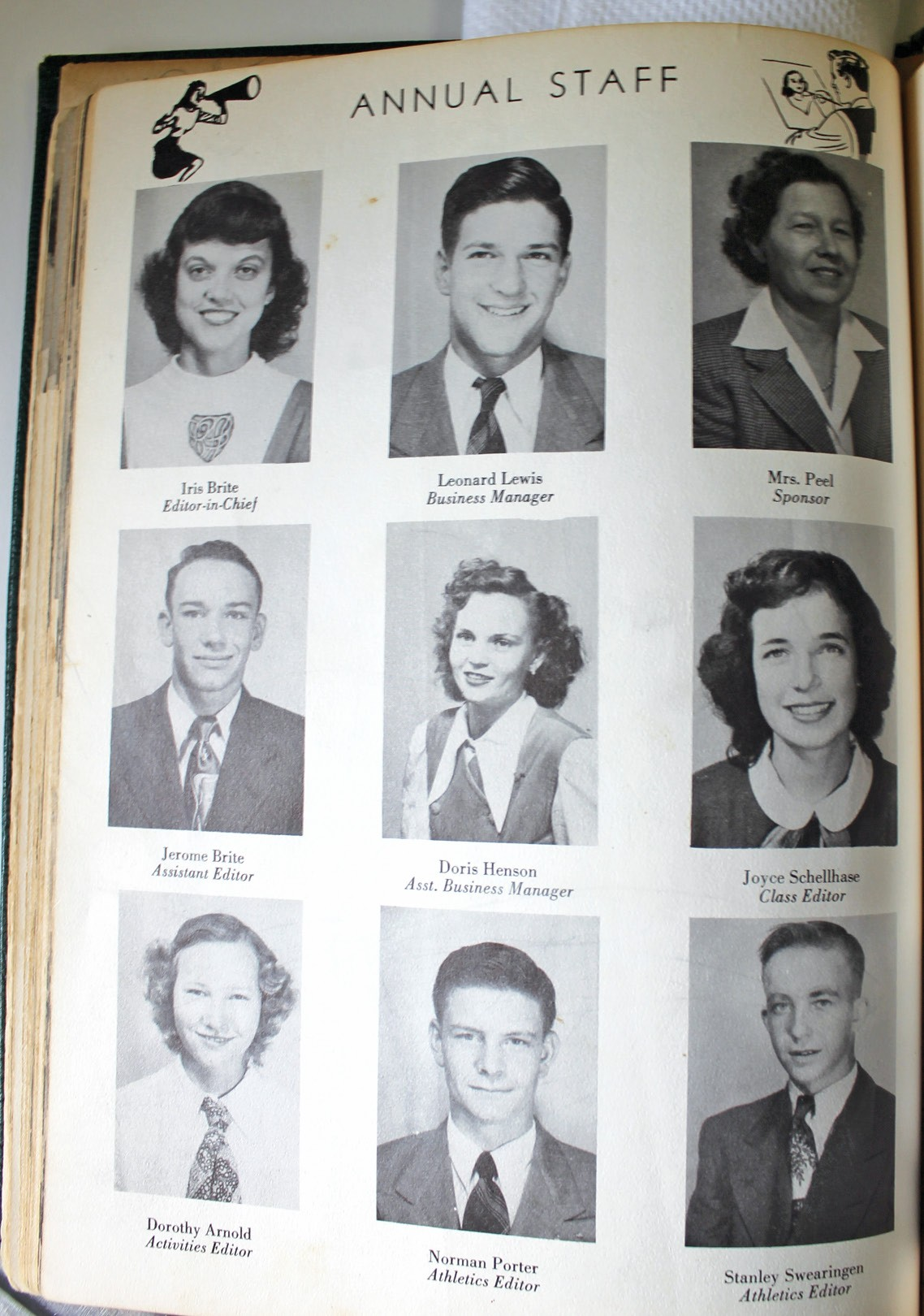A page from 1950 Pleasanton School annual with picture at top left of Iris Brite (eventually Porter - Norman's wife) -Annual Staff Editor in Chief and at bottom center, Norman Porter, Athletics Editor.