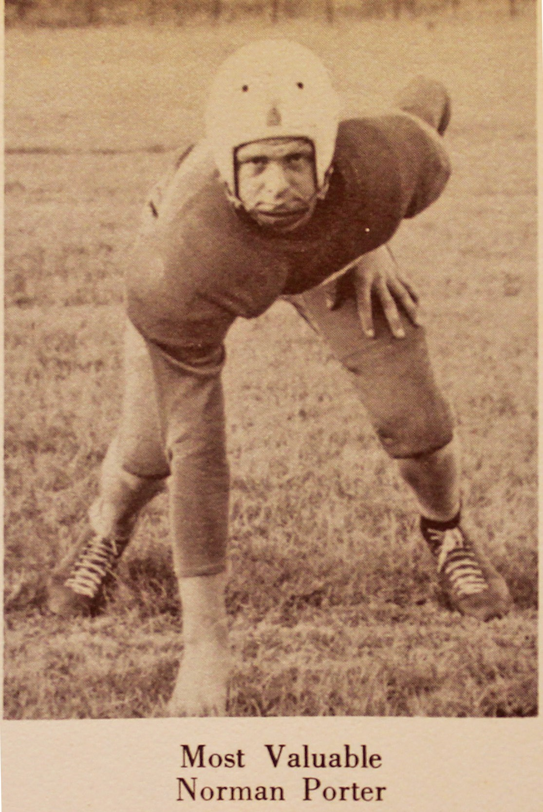 Picture in 1950 Pleasanton School Annual of Norman Porter, Most Valuable football player being pointed out by Marvin Deckert in his annual. Deckert was a freshman in 1950.