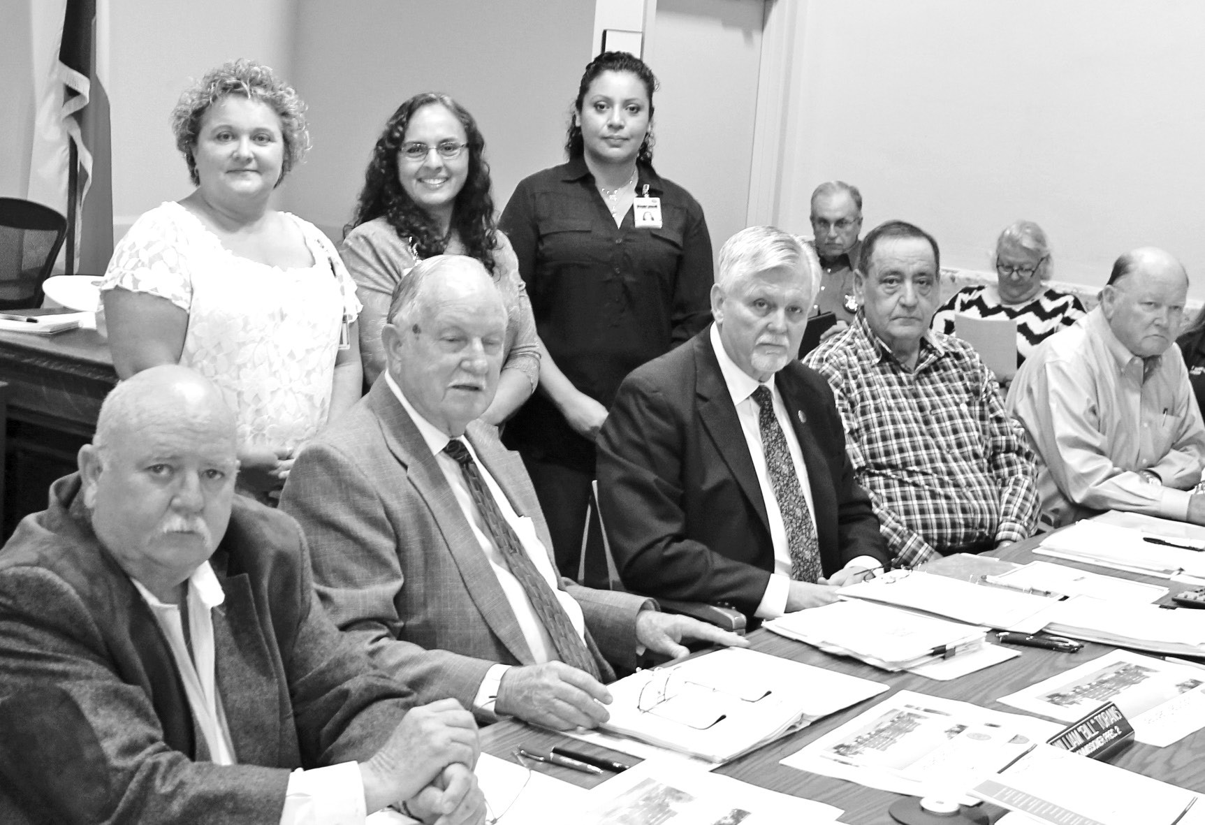 Atascosa County Health Services reported on services provided in 2015 during the Commissioners' Court meeting Monday, April 11. Standing, from left, are Monica Gwosdz, DSHS; Sandra Calvillo, human services technician and Cecilia Pettitzn, DSHS. Seated are Comm. Lonnie Gillespie, Pct. 1; Comm. Bill Torans, Pct. 2; Atascosa County Judge Bob Hurley; Comm. Freddie Ogden, Pct. 3; and Comm. Bill Carroll, Pct. 4.