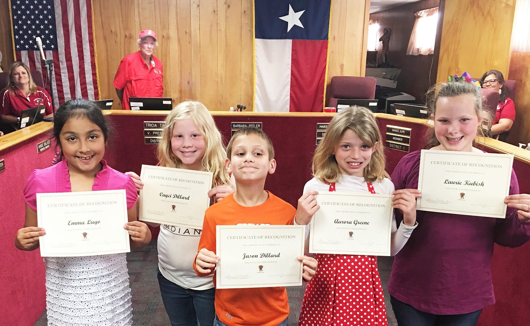 The Jourdanton KC Club was recognized during the April 11 Jourdanton ISD board meeting. Left to right are Emma Lugo, Cayci Dillard, Jason Dillard, Aurora Green and Laurie Kubish. The students gave a report on the club which promotes kindness and compassion.