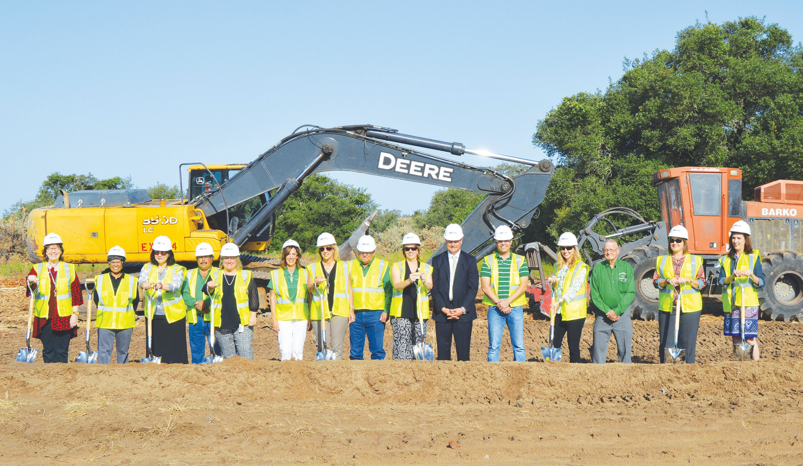 The Pleasanton ISD held a groundbreaking ceremony for the new Elementary school last Wednesday, April 27. Elementary teachers took part in the ceremony along with the school board members and superintendent. The PHS Drumline and Cheerleaders added excitement to it and the other groundbreakings at the Junior High and High School campus renovations. Left to right are Mary Zinda, Blasa Chapa, board trustee; Xenia Katcsmorak, Edward Zamarripa, board trustee; Stephanie Eichman, Pat Cox, board trustee; Cathy Smith, Pete Pawelek,board trustee; Johanna Hagen, Dr. Matthew Mann, superintendent; Joseph Warnken, board trustee; Karen Rankin, Frank Tudyk, board trustee; Tammy Gillespie and Kristen Nelson.