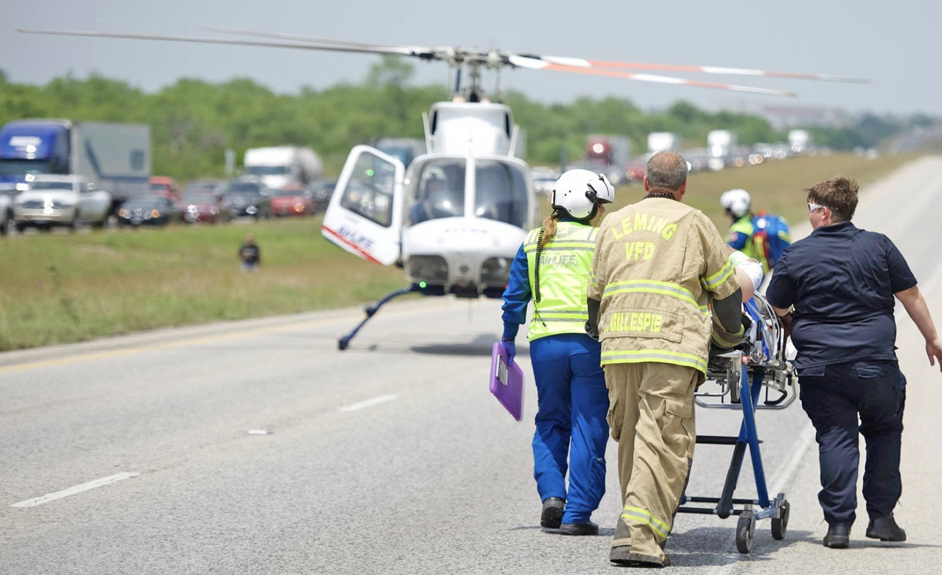 Atascosa EMS, Leming Volunteer Fire Department, DPS, Atascosa County Sheriff's Officers and AirLife responded to a one vehicle rollover on May 1. The accident occurred on IH-37, near mile marker 113. Multiple victims were transported to STRMC in Jourdanton and one went to San Antonio via AirLife.