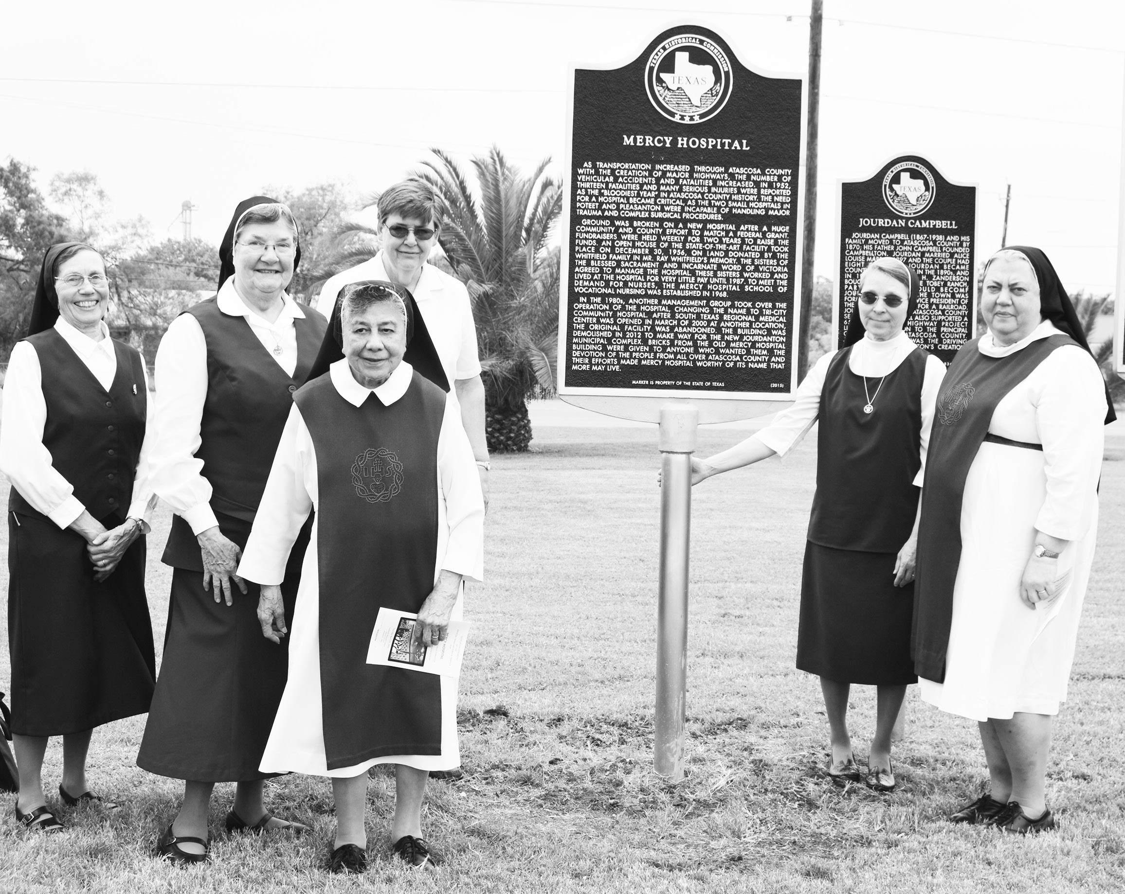 The Atascosa County Historical Commission held a dedication ceremony at the Jourdanton Municipal Complex for a new marker commemorating Mercy Hospital. Unveiling the marker was, second from left, Sister Stephana Marbach, Superior General of Incarnate Word and Blessed Sacrament and some of the nuns who worked at Mercy Hospital. Left to right are Sister Mary Beth Cernoch, Sister Rachael Gomez, Sister Maureen Sprinzel, Sister Magdalen Carpenter and Sister Paschaline Kutak.