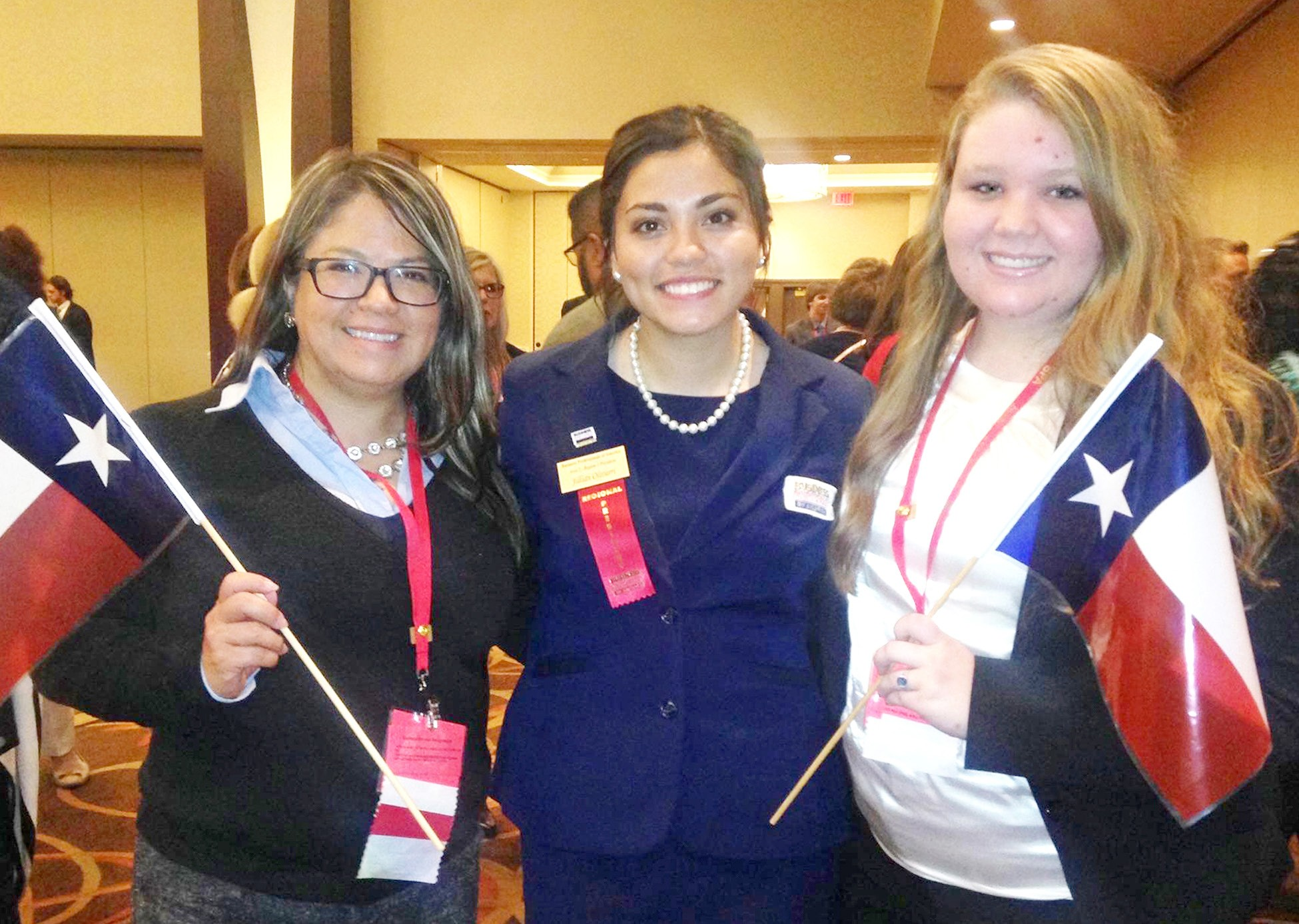 Janie Olivarri, Jillian Olivarri and Alyssa Dickson represent Pleasanton High School at the National Leadership Conference in Boston, Mass.