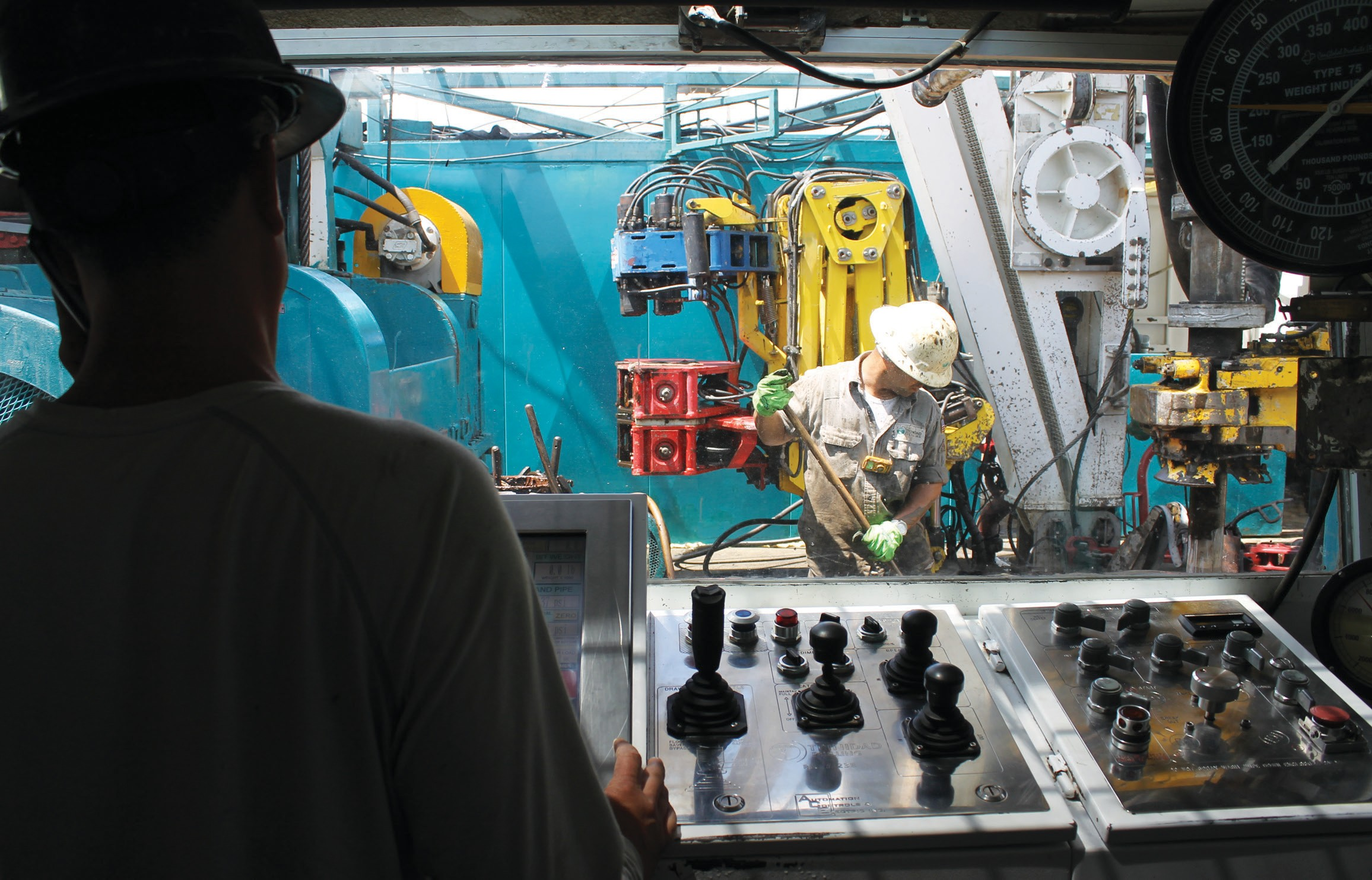 View from the driller's control room 'doghouse' on Trinidad Drilling Rig 123E during operations south of Pleasanton off CR 429. This is at Abraxas Petroleum site where a 5,700 foot horizontal Austin Chalk well is being drilled.