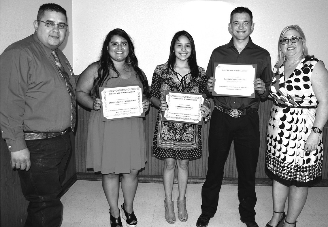 The Atascosa County Law Enforcement Officers Association gave out the Thomas Monse, Mark Stephenson and Terry Miller Memorial Scholarships to three area graduates. Presenting the scholarships to Jacquelynn Celeste Delgado, Francisca Sanchez and Zachary Ryan Tymrak were ACLEOA President Jesse Martinez, (left) and ACLEOA Secretary/Treasurer Molly Solis (right).